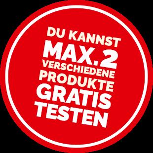 Du kannst maximal 2 verschiedene Produkte gratis testen